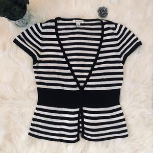 WHBM striped short sleeve button up cardigan